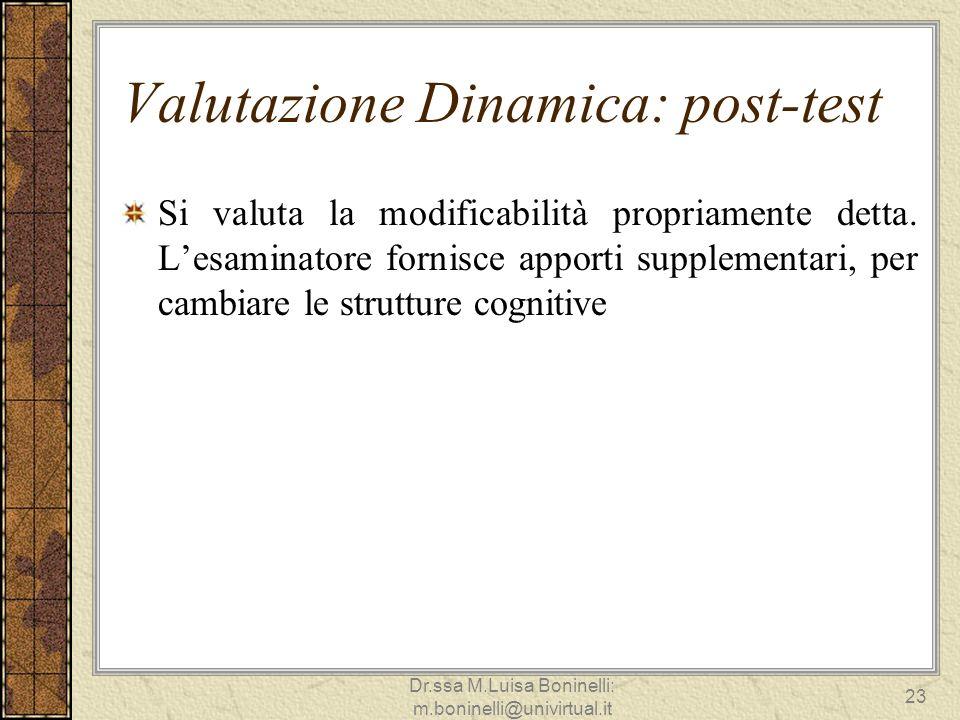 Valutazione Dinamica: post-test Si valuta la modificabilità propriamente detta. Lesaminatore fornisce apporti supplementari, per cambiare le strutture