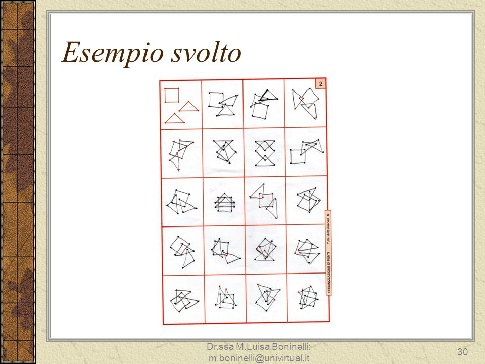 Esempio svolto 30 Dr.ssa M.Luisa Boninelli: m.boninelli@univirtual.it