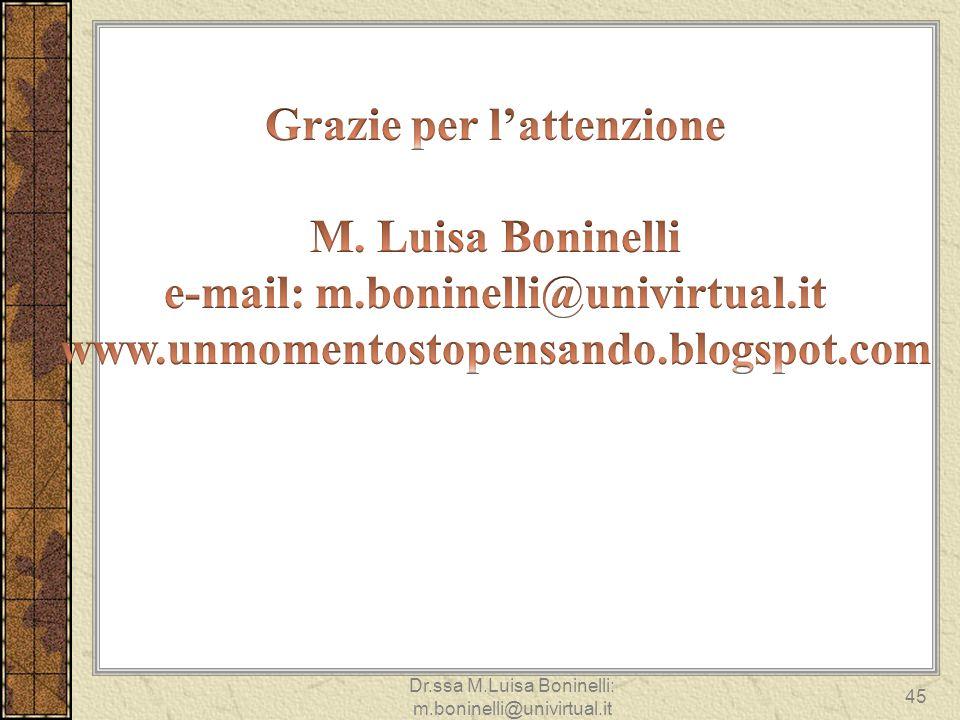 Dr.ssa M.Luisa Boninelli: m.boninelli@univirtual.it 45
