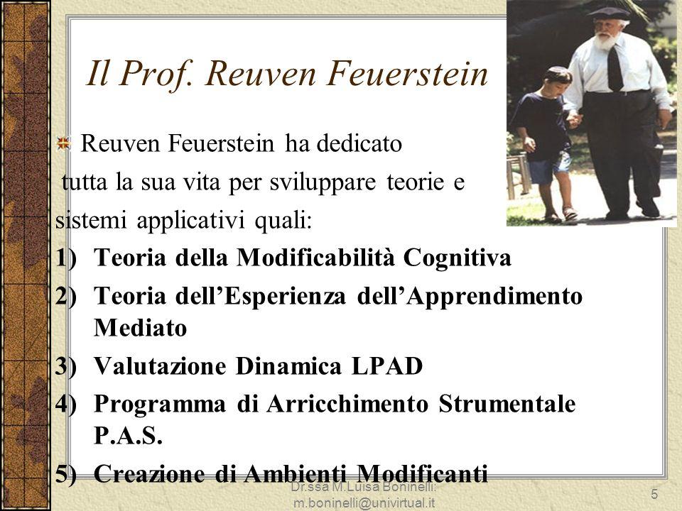 Il Prof. Reuven Feuerstein Reuven Feuerstein ha dedicato tutta la sua vita per sviluppare teorie e sistemi applicativi quali: 1)Teoria della Modificab