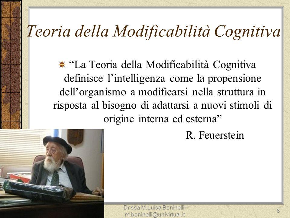 Teoria della Modificabilità Cognitiva La Teoria della Modificabilità Cognitiva definisce lintelligenza come la propensione dellorganismo a modificarsi