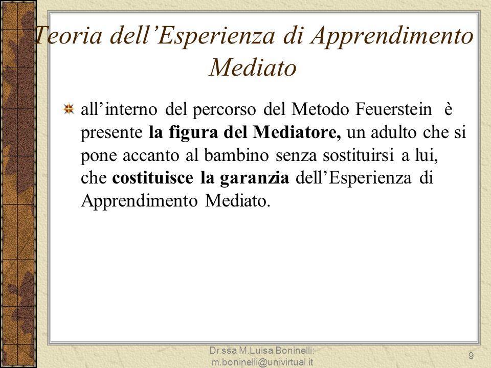 Teoria dellEsperienza di Apprendimento Mediato allinterno del percorso del Metodo Feuerstein è presente la figura del Mediatore, un adulto che si pone
