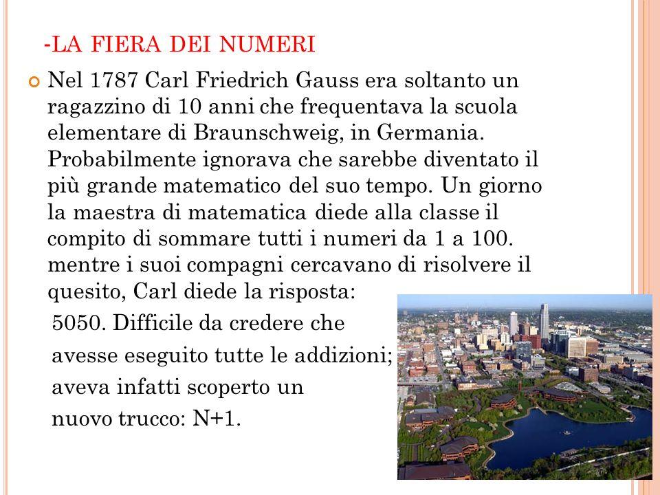 - LA FIERA DEI NUMERI Nel 1787 Carl Friedrich Gauss era soltanto un ragazzino di 10 anni che frequentava la scuola elementare di Braunschweig, in Germ