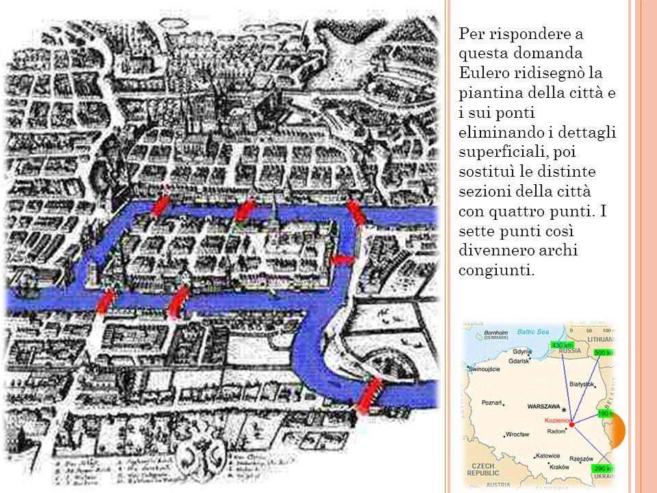 Per rispondere a questa domanda Eulero ridisegnò la piantina della città e i sui ponti eliminando i dettagli superficiali, poi sostituì le distinte se