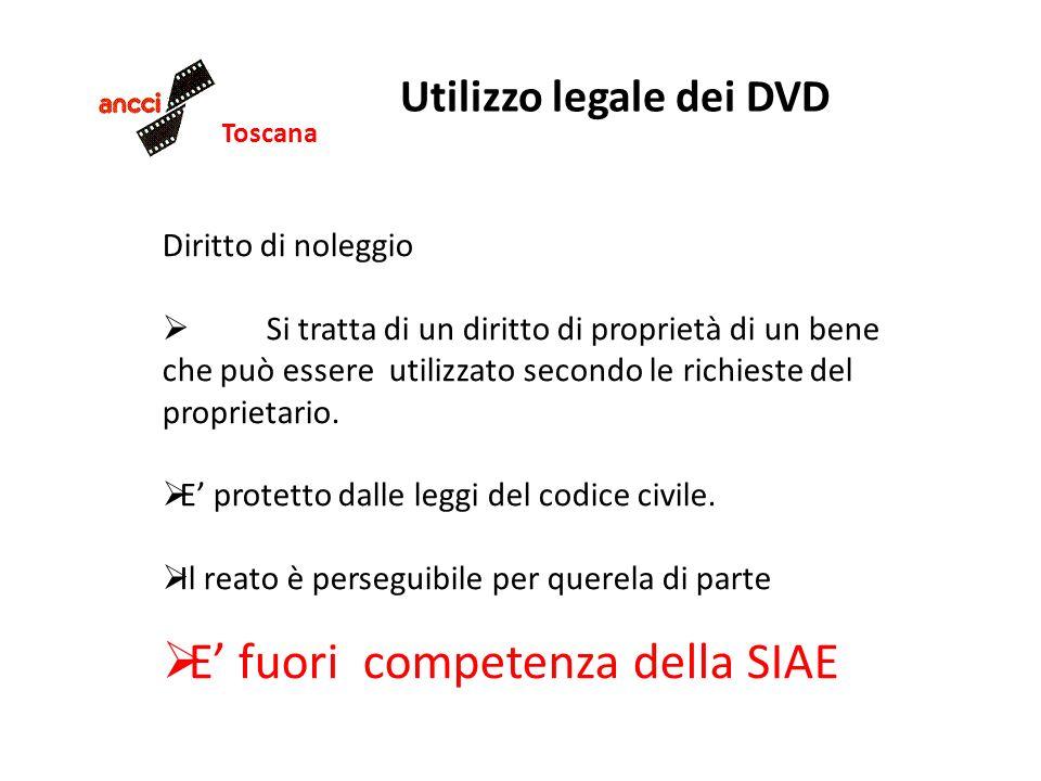 Toscana Utilizzo legale dei DVD Diritto di noleggio Si tratta di un diritto di proprietà di un bene che può essere utilizzato secondo le richieste del proprietario.