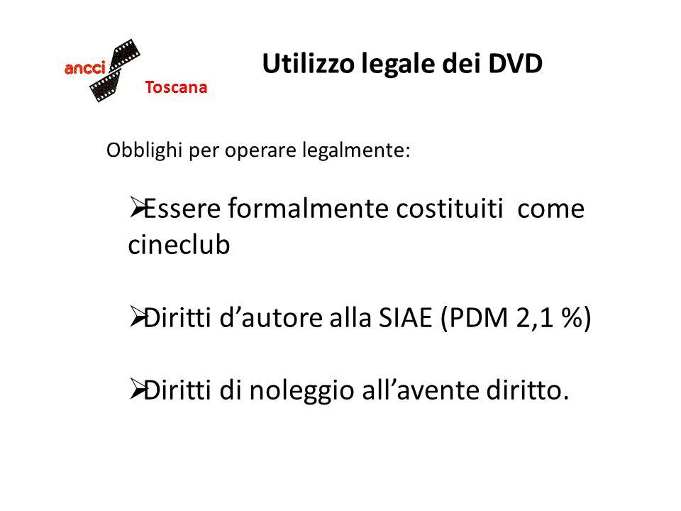 Toscana Utilizzo legale dei DVD Obblighi per operare legalmente: Essere formalmente costituiti come cineclub Diritti dautore alla SIAE (PDM 2,1 %) Dir