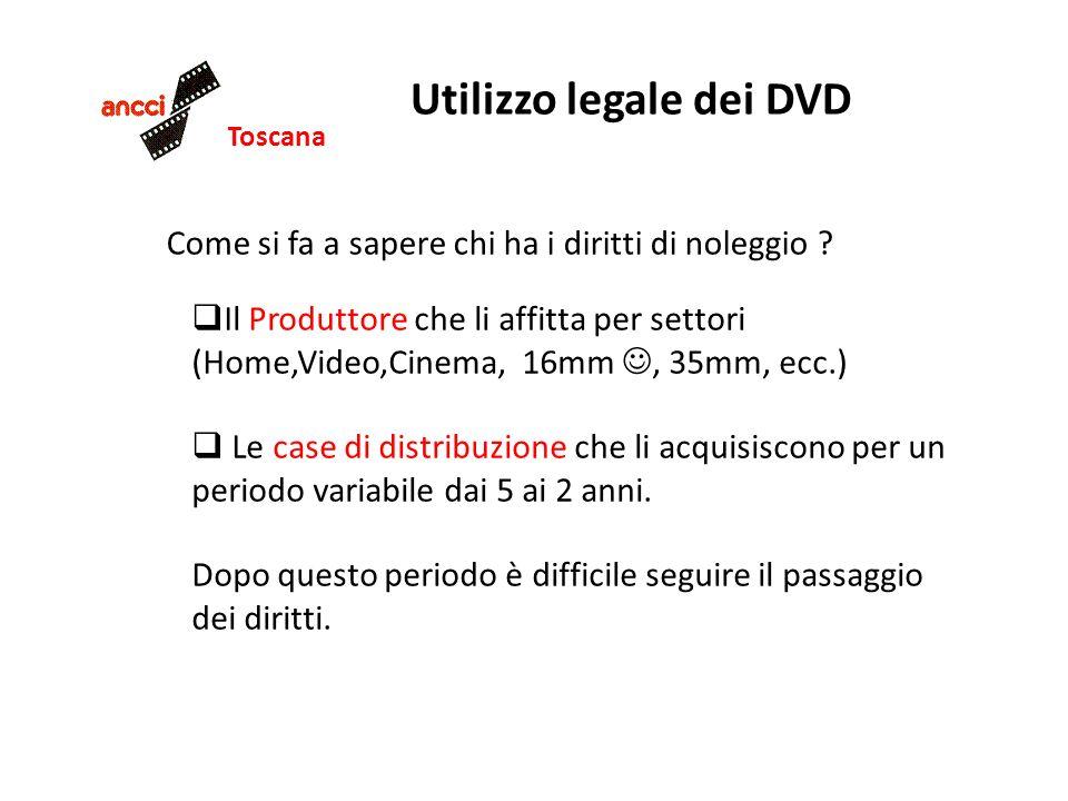 Toscana Utilizzo legale dei DVD Come si fa a sapere chi ha i diritti di noleggio ? Il Produttore che li affitta per settori (Home,Video,Cinema, 16mm,