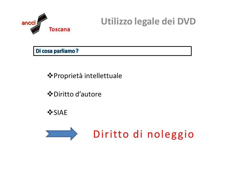 Toscana Utilizzo legale dei DVD Proprietà intellettuale Diritto dautore SIAE Diritto di noleggio