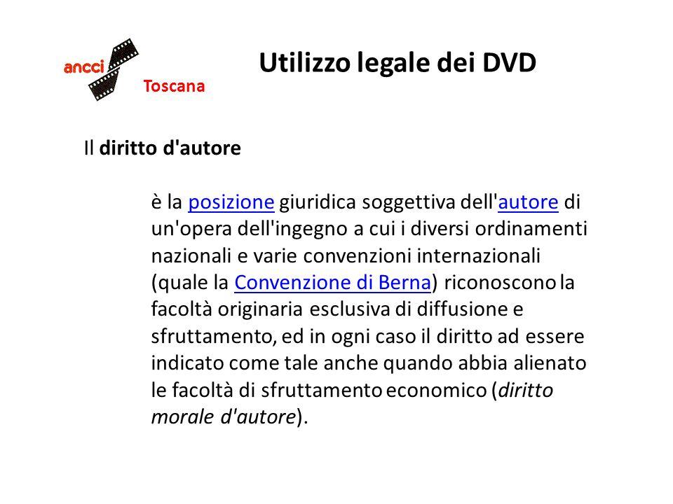 Toscana Utilizzo legale dei DVD Il diritto d'autore è la posizione giuridica soggettiva dell'autore di un'opera dell'ingegno a cui i diversi ordinamen