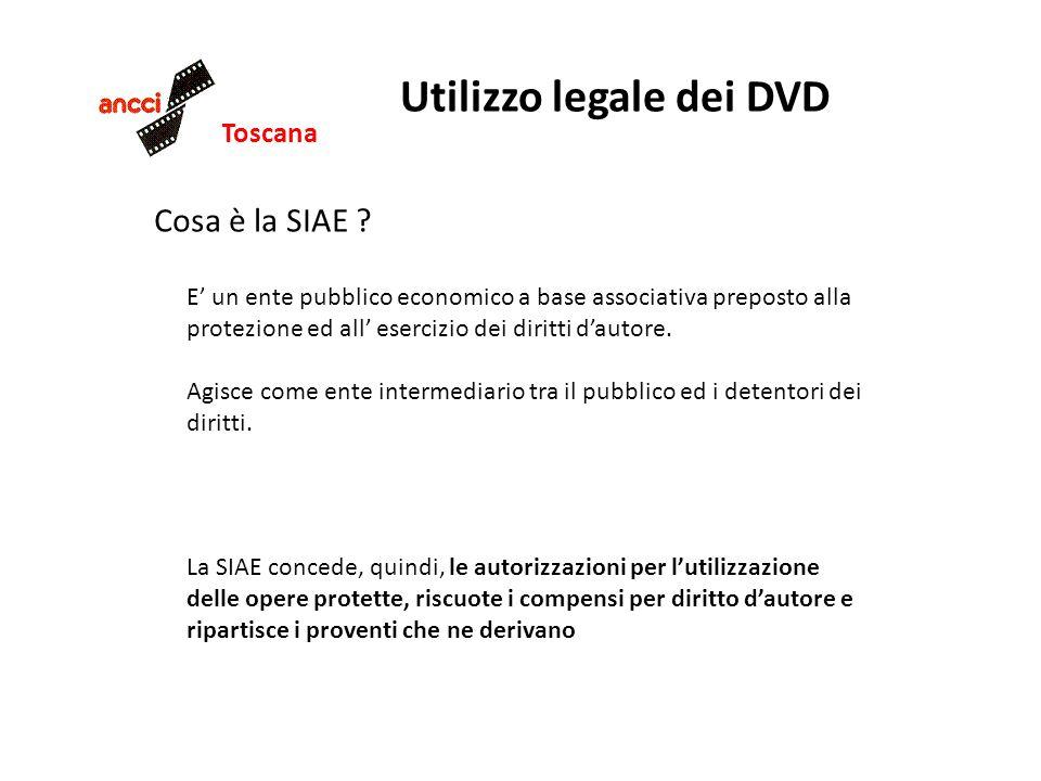 Toscana Utilizzo legale dei DVD Cosa è la SIAE ? E un ente pubblico economico a base associativa preposto alla protezione ed all esercizio dei diritti