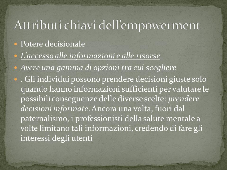 Potere decisionale L'accesso alle informazioni e alle risorse Avere una gamma di opzioni tra cui scegliere. Gli individui possono prendere decisioni g