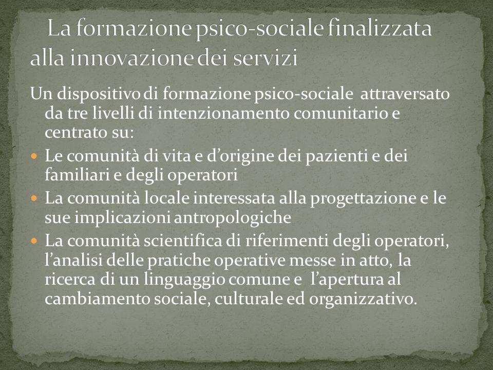 Un dispositivo di formazione psico-sociale attraversato da tre livelli di intenzionamento comunitario e centrato su: Le comunità di vita e dorigine de