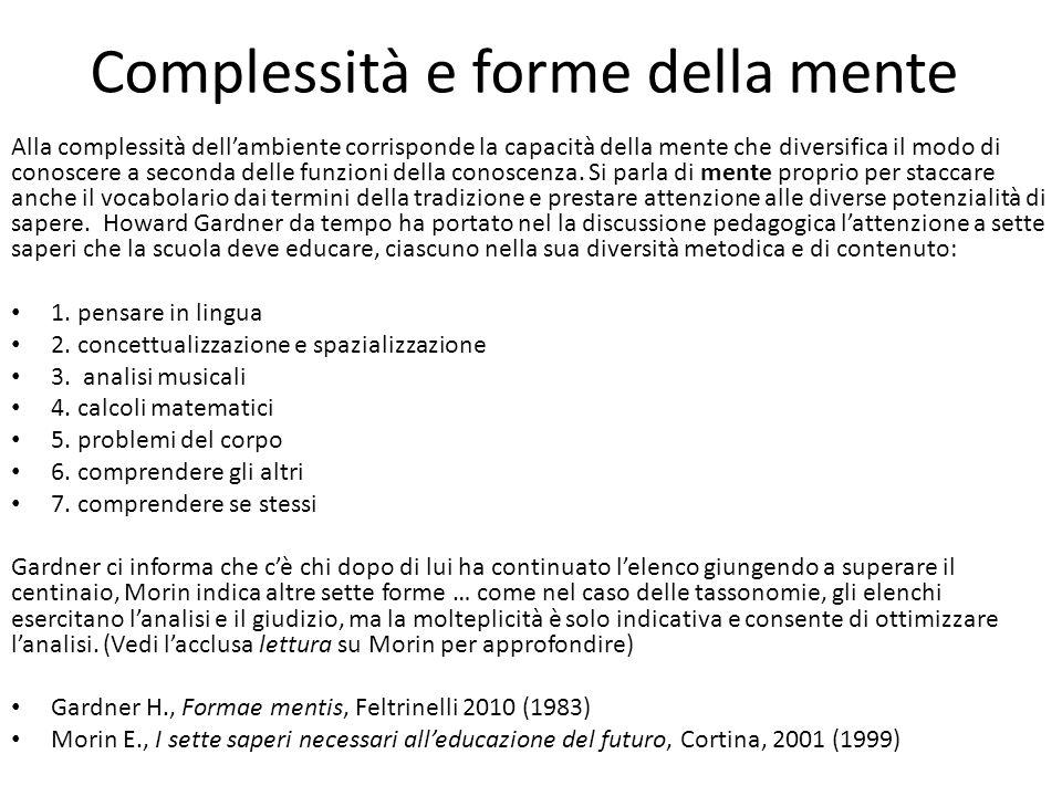 Complessità e forme della mente Alla complessità dellambiente corrisponde la capacità della mente che diversifica il modo di conoscere a seconda delle
