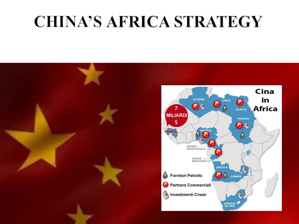 lobiettivo della strategia cinese in Africa è di concentrare lattenzione del Continente Africano sullinterazione tra la sua economia, che abbonda di risorse umane e naturali e quella cinese, fondata sul possesso della tecnologia, delle capacità manageriali e dei capitali di cui hanno bisogno i paesi africani.