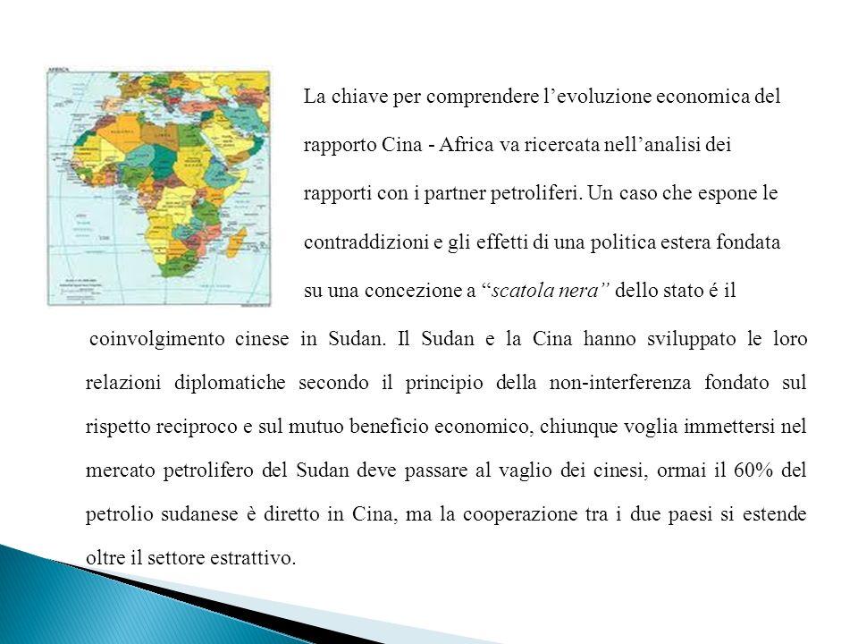 La chiave per comprendere levoluzione economica del rapporto Cina - Africa va ricercata nellanalisi dei rapporti con i partner petroliferi. Un caso ch