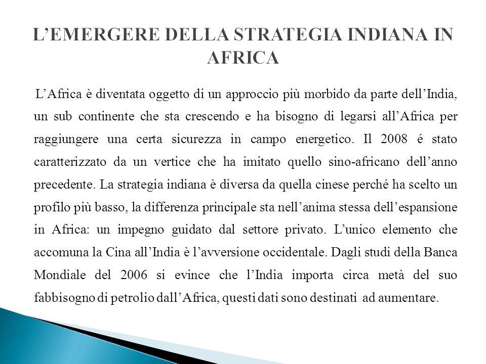 LAfrica è diventata oggetto di un approccio più morbido da parte dellIndia, un sub continente che sta crescendo e ha bisogno di legarsi allAfrica per raggiungere una certa sicurezza in campo energetico.
