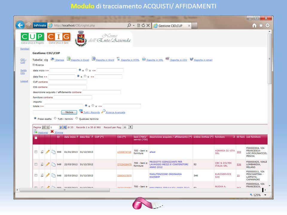 Modulo di tracciamento ACQUISTI/ AFFIDAMENTI
