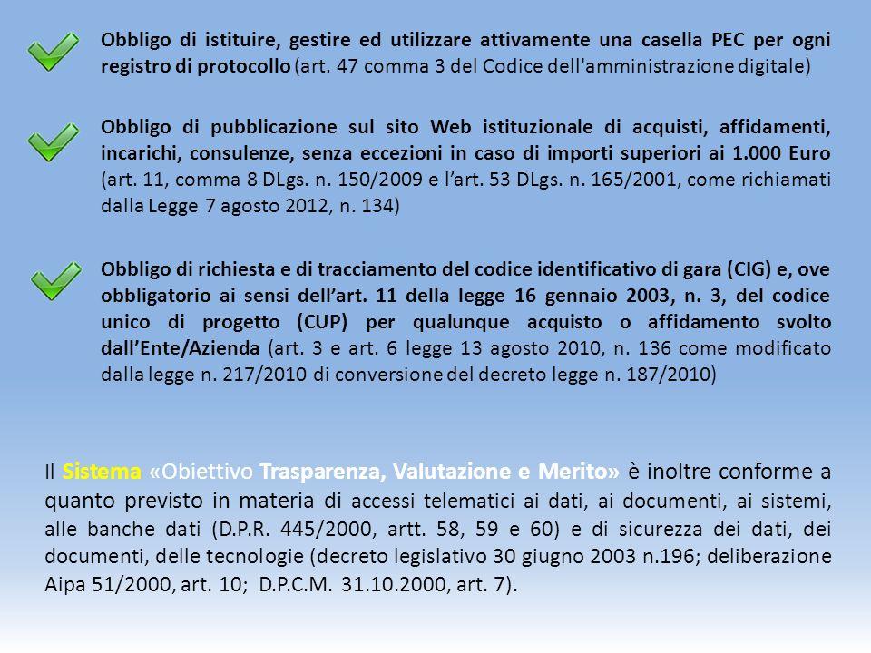 Obbligo di istituire, gestire ed utilizzare attivamente una casella PEC per ogni registro di protocollo (art.