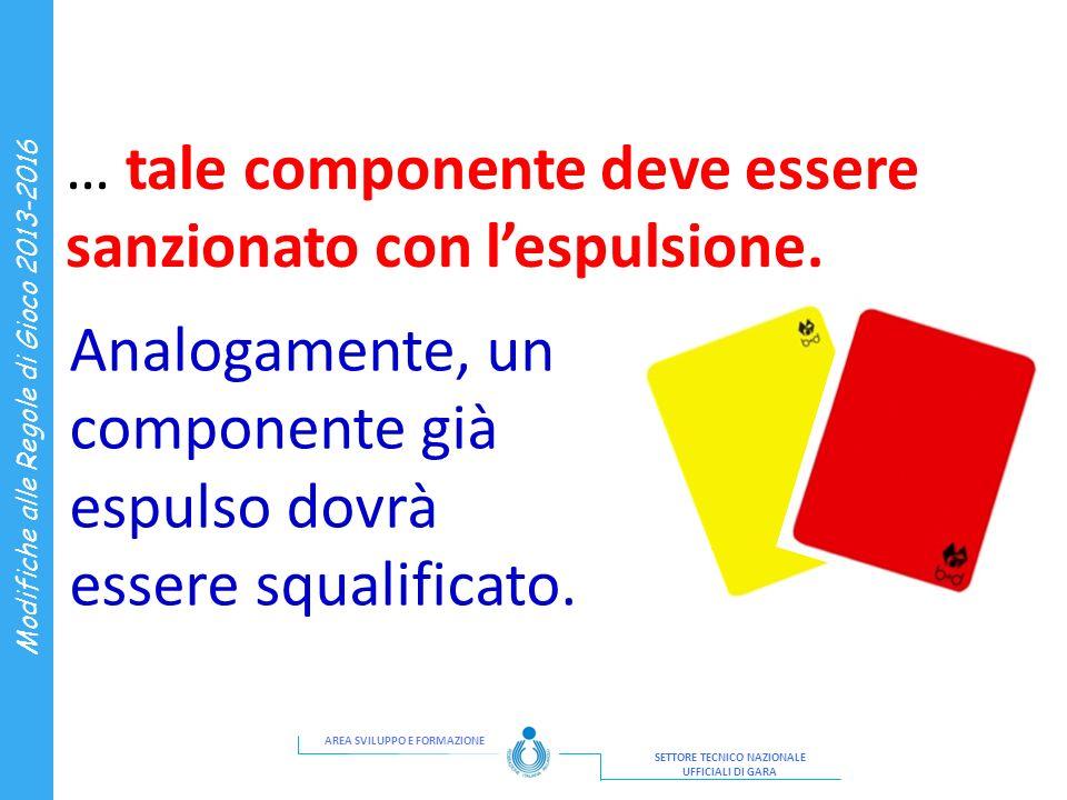 AREA SVILUPPO E FORMAZIONE SETTORE TECNICO NAZIONALE UFFICIALI DI GARA Modifiche alle Regole di Gioco 2013-2016 … tale componente deve essere sanziona
