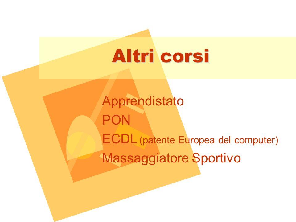 Altri corsi Apprendistato PON ECDL (patente Europea del computer) Massaggiatore Sportivo
