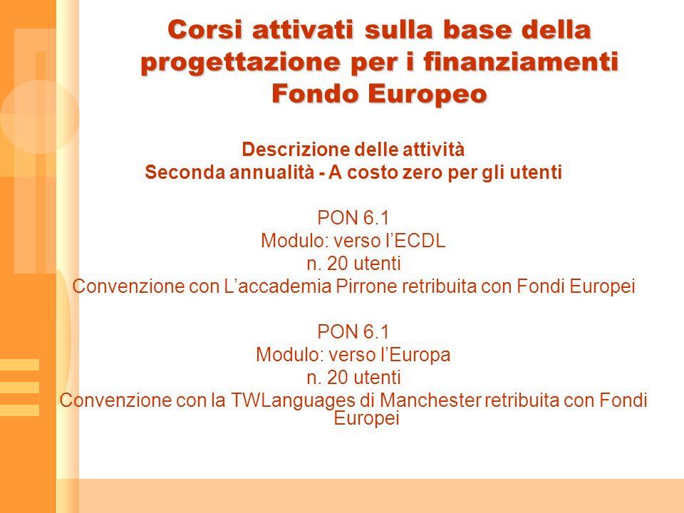 Corsi attivati sulla base della progettazione per i finanziamenti Fondo Europeo Descrizione delle attività Seconda annualità - A costo zero per gli utenti PON 6.1 Modulo: verso lECDL n.