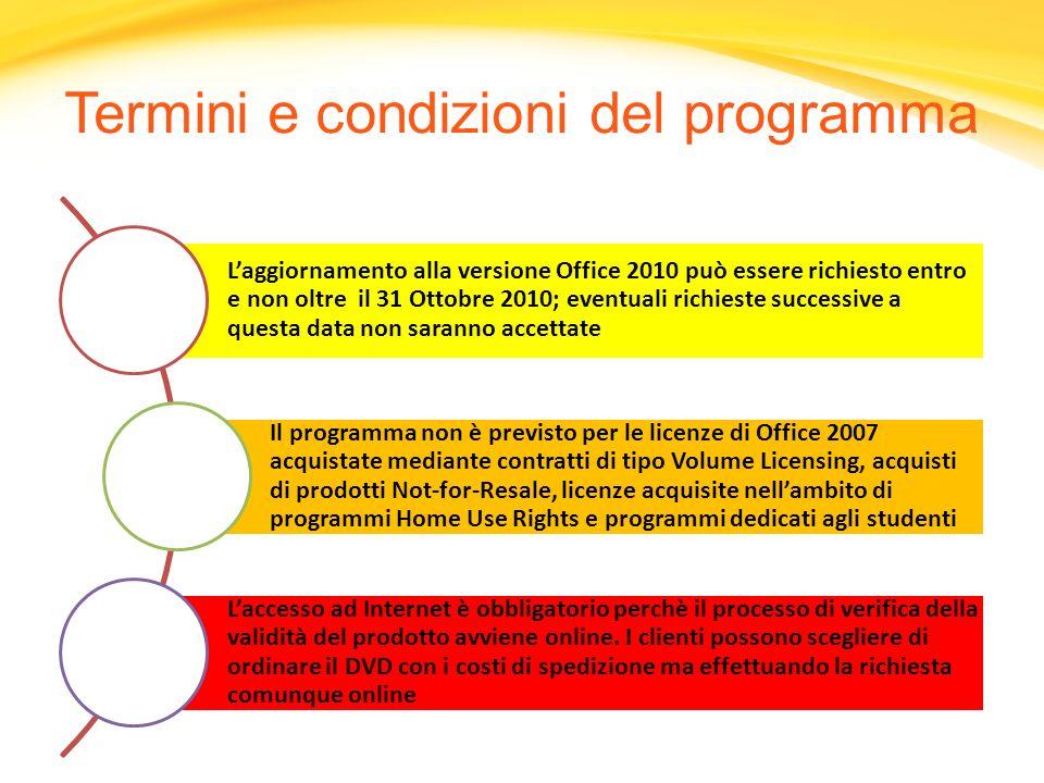 Laggiornamento alla versione Office 2010 può essere richiesto entro e non oltre il 31 Ottobre 2010; eventuali richieste successive a questa data non s