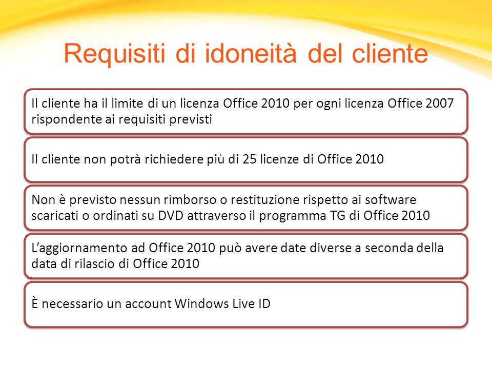 Il cliente ha il limite di un licenza Office 2010 per ogni licenza Office 2007 rispondente ai requisiti previsti Il cliente non potrà richiedere più d