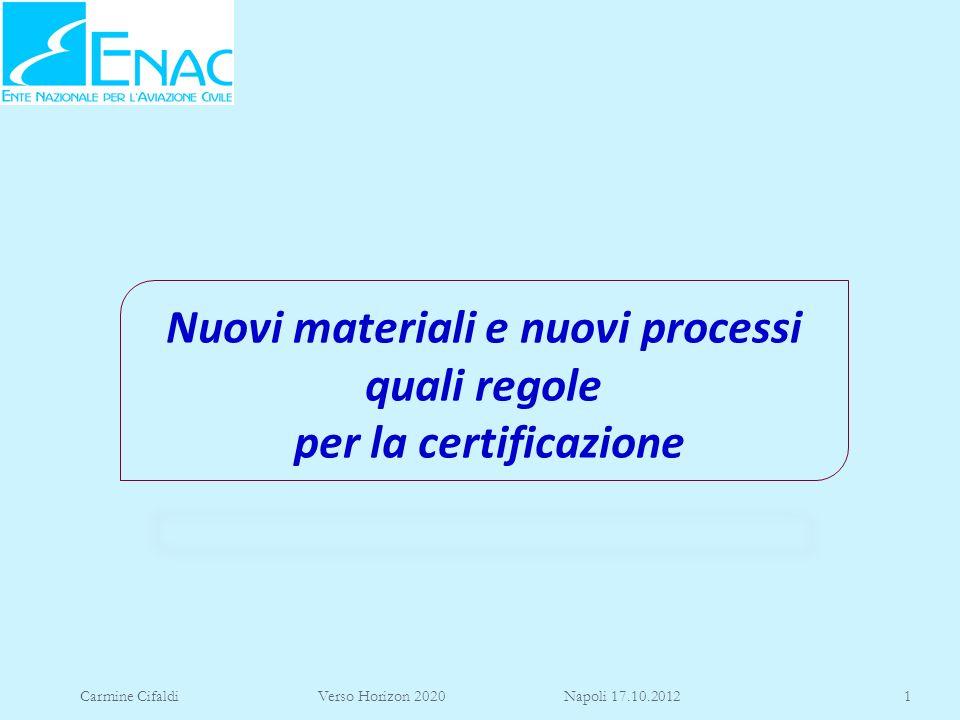 Carmine Cifaldi Verso Horizon 2020 Napoli 17.10.20121 Nuovi materiali e nuovi processi quali regole per la certificazione