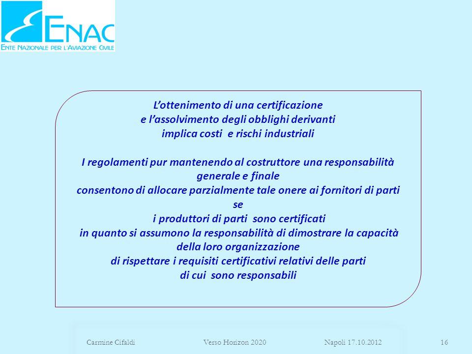 Carmine Cifaldi Verso Horizon 2020 Napoli 17.10.201216 Lottenimento di una certificazione e lassolvimento degli obblighi derivanti implica costi e ris