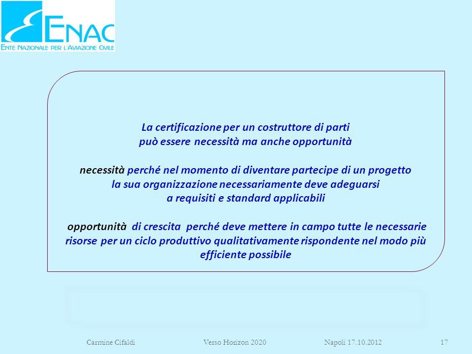 Carmine Cifaldi Verso Horizon 2020 Napoli 17.10.201217 La certificazione per un costruttore di parti può essere necessità ma anche opportunità necessi