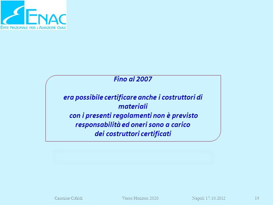 Carmine Cifaldi Verso Horizon 2020 Napoli 17.10.201219 Fino al 2007 era possibile certificare anche i costruttori di materiali con i presenti regolame