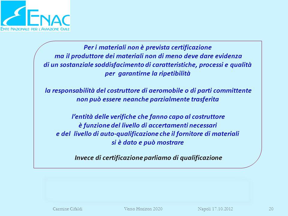 Carmine Cifaldi Verso Horizon 2020 Napoli 17.10.201220 Per i materiali non è prevista certificazione ma il produttore dei materiali non di meno deve d