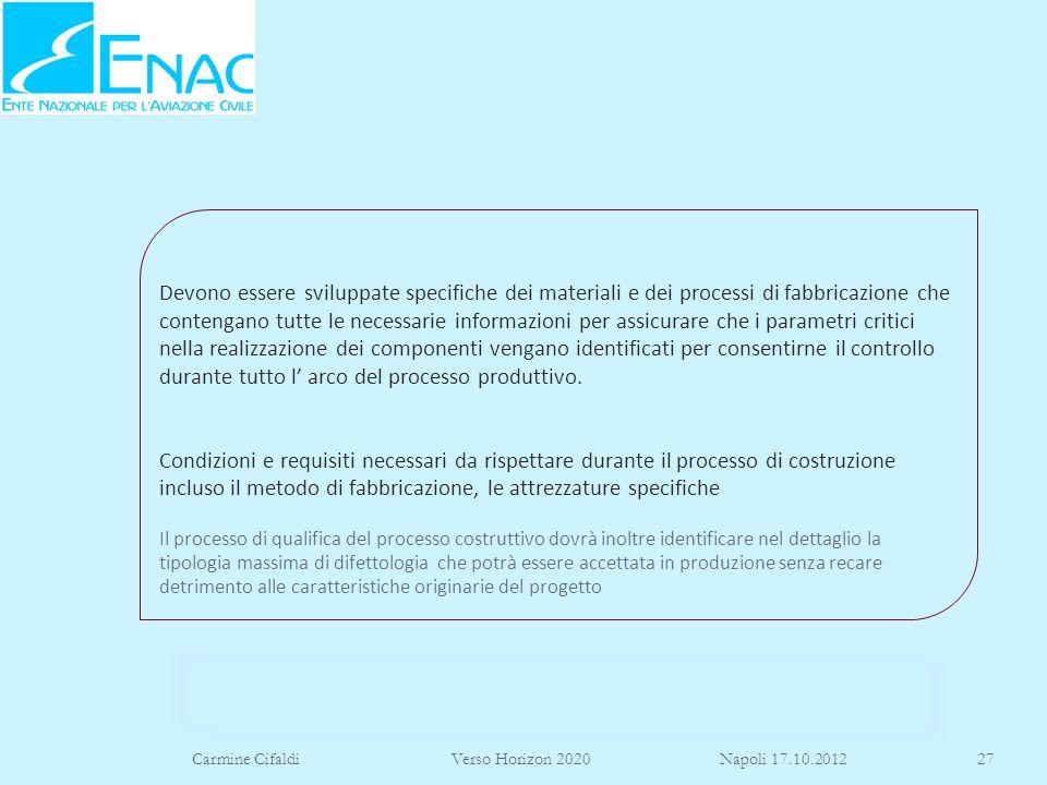 Carmine Cifaldi Verso Horizon 2020 Napoli 17.10.201227 Devono essere sviluppate specifiche dei materiali e dei processi di fabbricazione che contengan