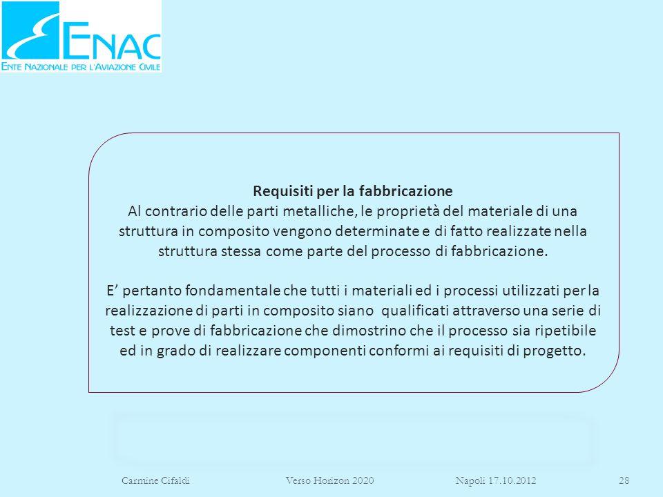 Carmine Cifaldi Verso Horizon 2020 Napoli 17.10.201228 Requisiti per la fabbricazione Al contrario delle parti metalliche, le proprietà del materiale