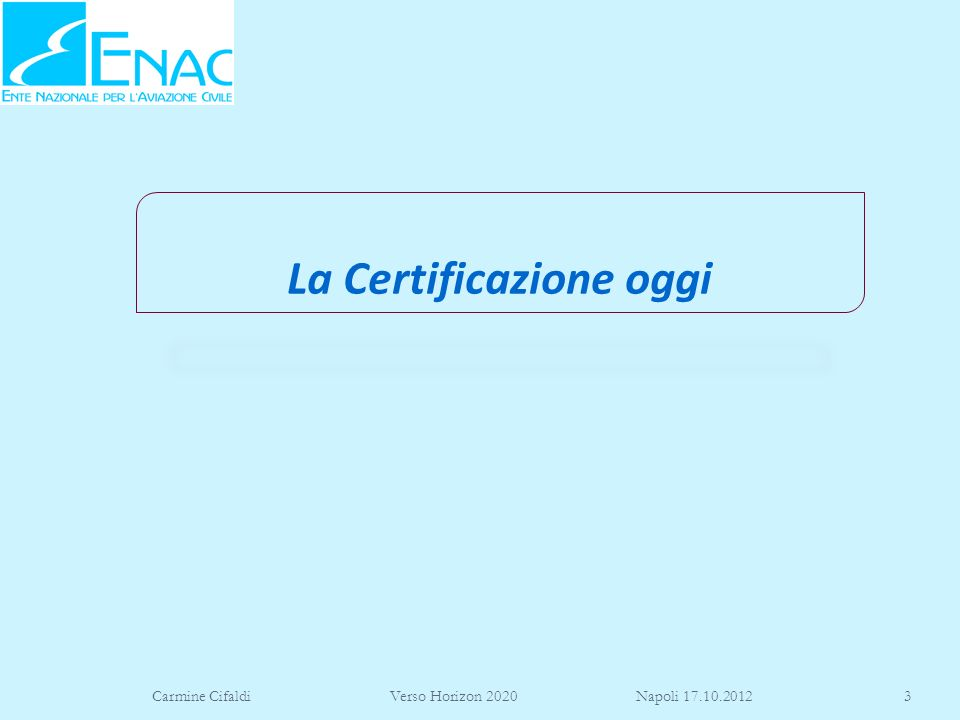 Carmine Cifaldi Verso Horizon 2020 Napoli 17.10.201214 21.A.126 Production inspection system Conformity of supplied parts, appliances and material (a) The production inspection system shall provide a means for determining that: 1.