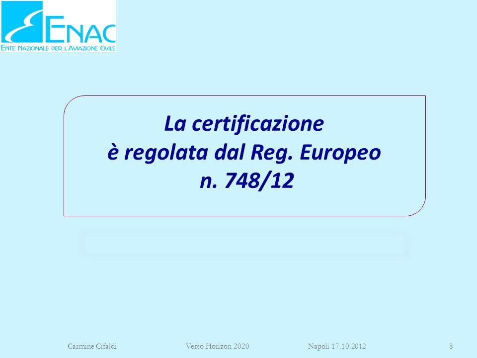 Carmine Cifaldi Verso Horizon 2020 Napoli 17.10.20128 La certificazione è regolata dal Reg. Europeo n. 748/12