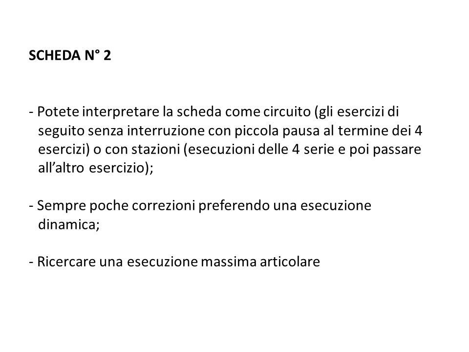 SCHEDA N° 2 - Potete interpretare la scheda come circuito (gli esercizi di seguito senza interruzione con piccola pausa al termine dei 4 esercizi) o c