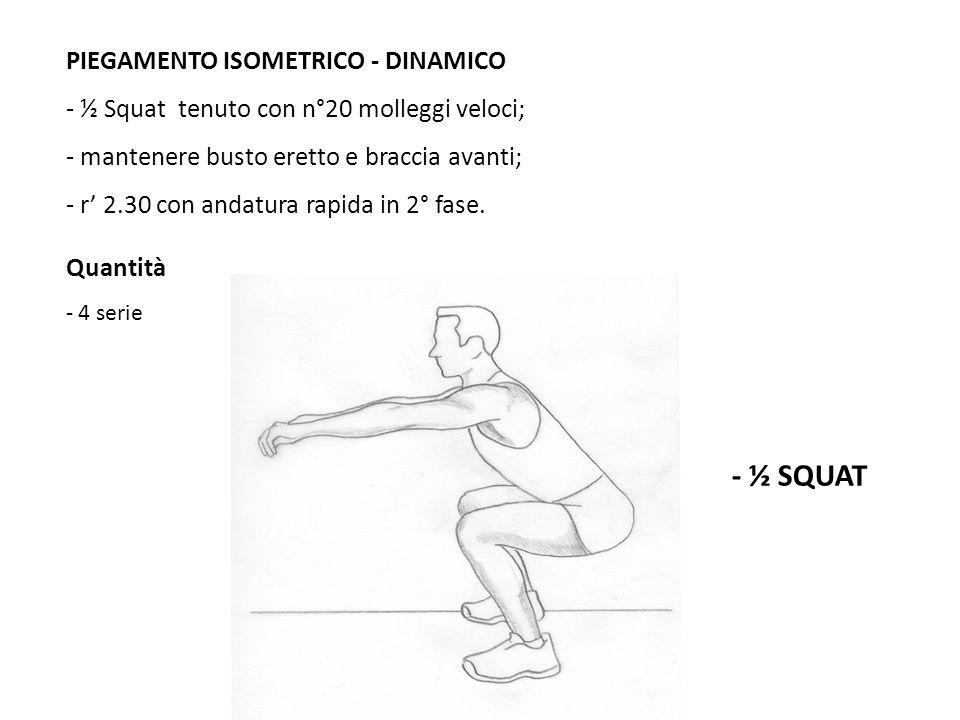 - ½ SQUAT PIEGAMENTO ISOMETRICO - DINAMICO - ½ Squat tenuto con n°20 molleggi veloci; - mantenere busto eretto e braccia avanti; - r 2.30 con andatura