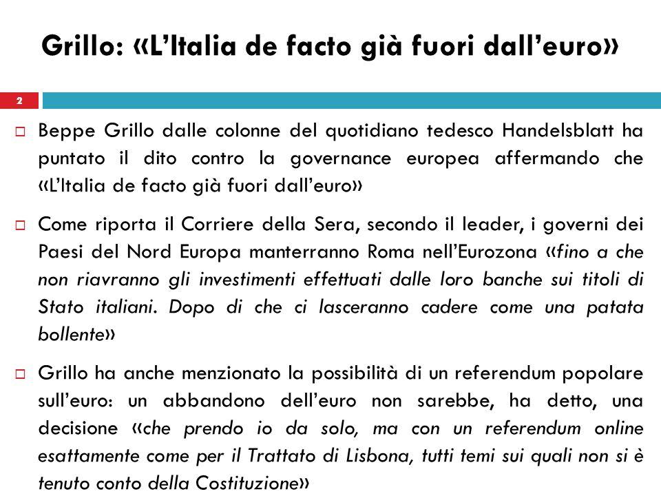 3 Grillo: «LItalia de facto già fuori dalleuro» Dopo aver definito lex premier, Mario Monti, «un amministratore fallimentare per conto delle banche», Grillo dice che lEuropa «non deve avere paura» del M5S.