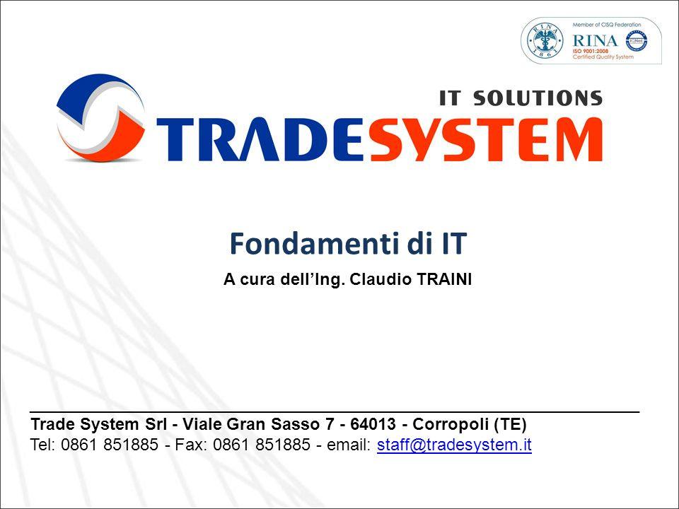 _________________________________________________________________ Trade System Srl - Viale Gran Sasso 7 - 64013 - Corropoli (TE) Tel: 0861 851885 - Fa