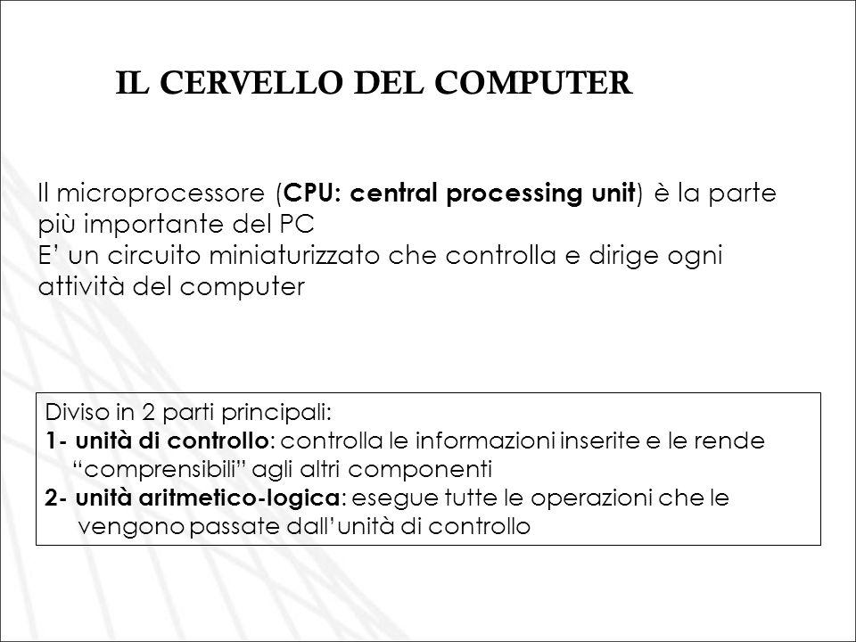 Il microprocessore ( CPU: central processing unit ) è la parte più importante del PC E un circuito miniaturizzato che controlla e dirige ogni attività