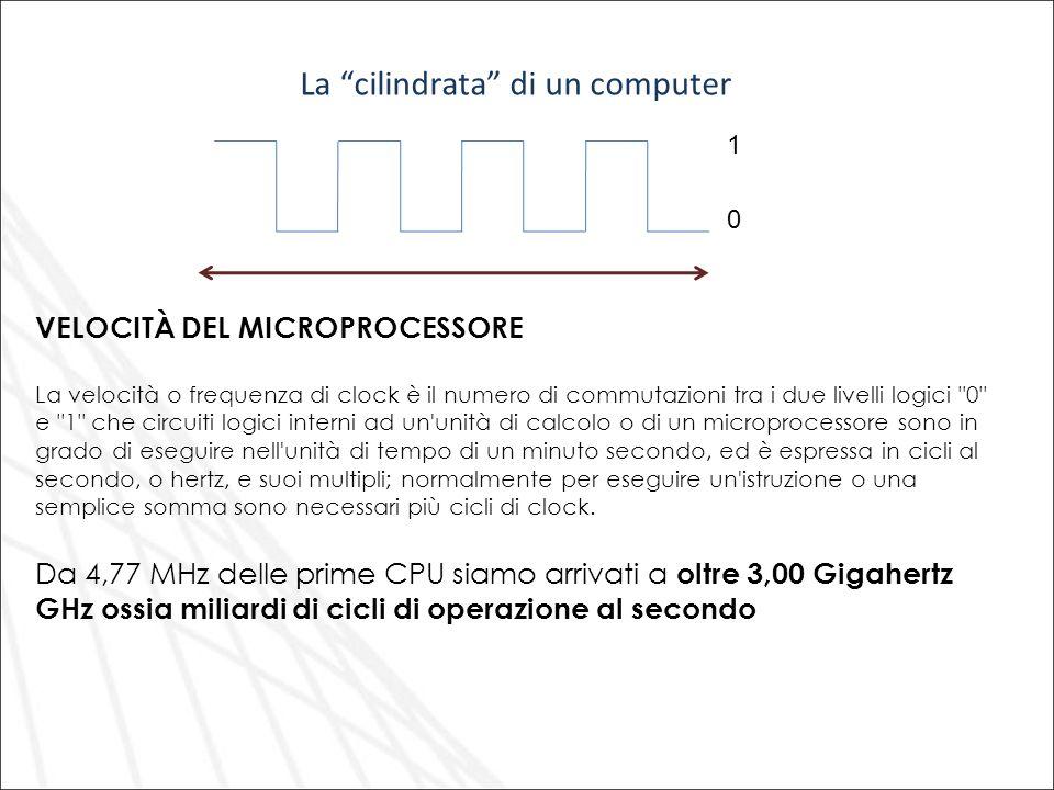 VELOCITÀ DEL MICROPROCESSORE La velocità o frequenza di clock è il numero di commutazioni tra i due livelli logici