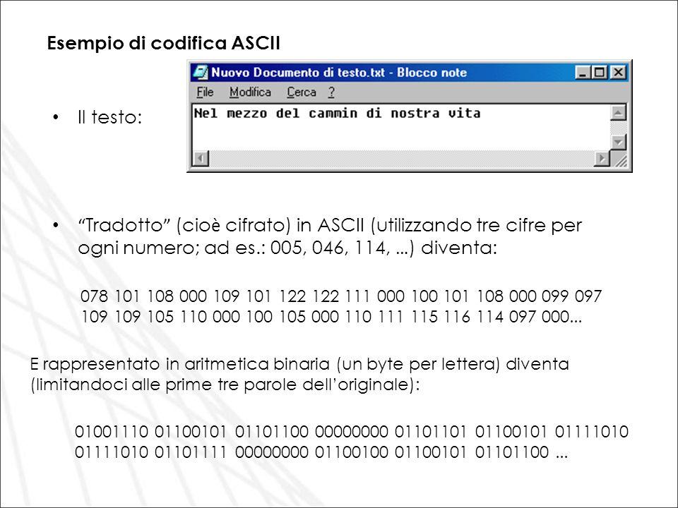 Esempio di codifica ASCII Il testo: Tradotto (cio è cifrato) in ASCII (utilizzando tre cifre per ogni numero; ad es.: 005, 046, 114, … ) diventa: 078