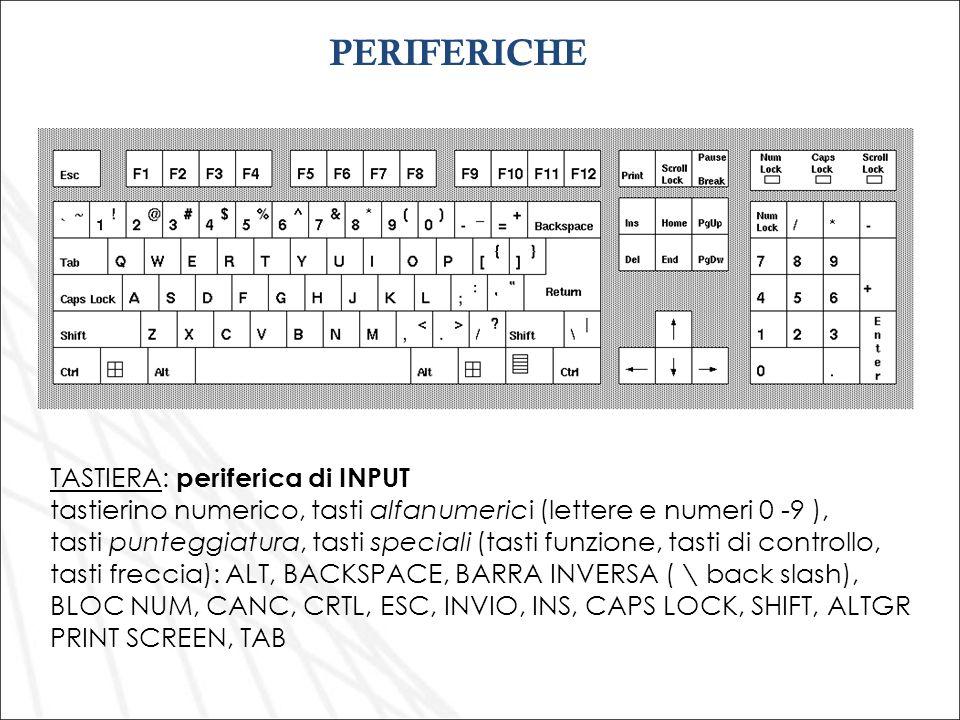 TASTIERA: periferica di INPUT tastierino numerico, tasti alfanumerici (lettere e numeri 0 -9 ), tasti punteggiatura, tasti speciali (tasti funzione, t