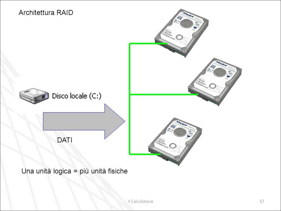 Il Calcolatore57 DATI Architettura RAID Una unità logica = più unità fisiche