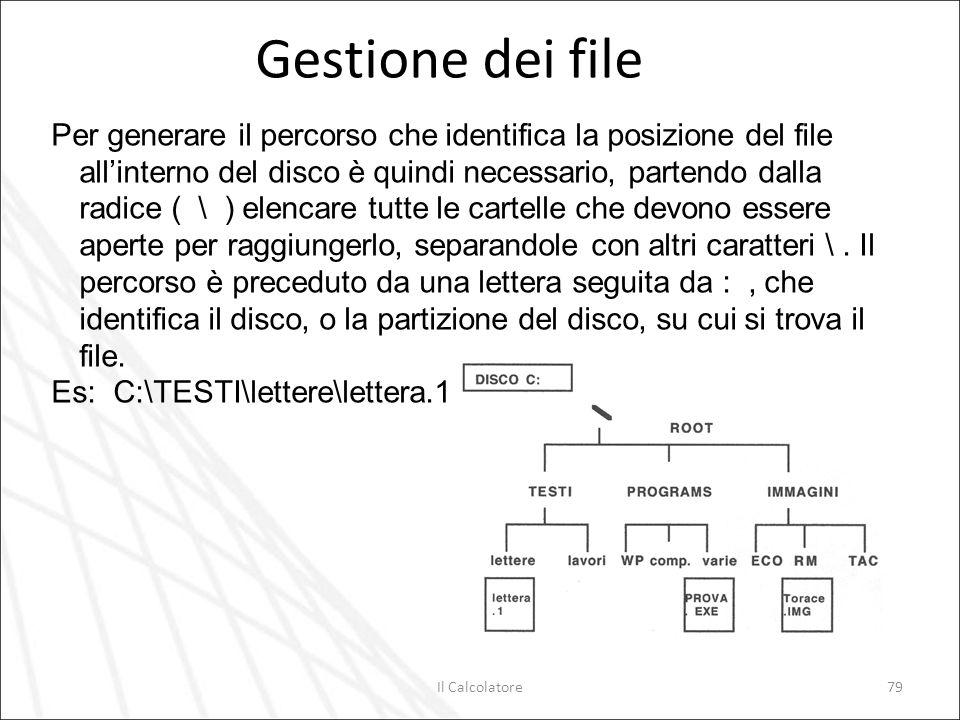 Il Calcolatore79 Gestione dei file Per generare il percorso che identifica la posizione del file allinterno del disco è quindi necessario, partendo da