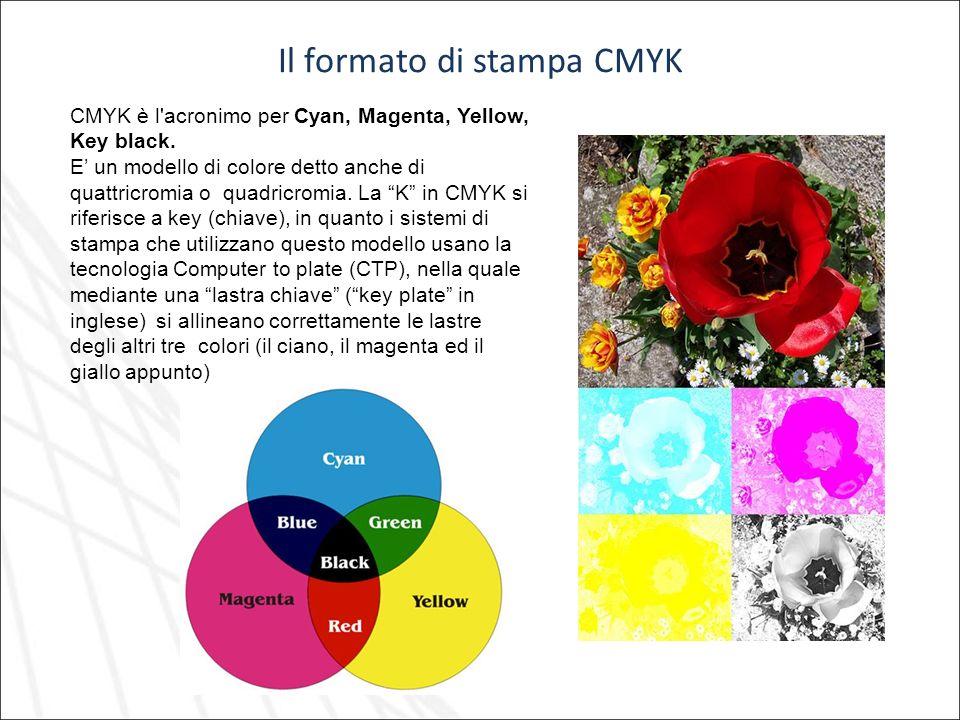 Il formato di stampa CMYK CMYK è l'acronimo per Cyan, Magenta, Yellow, Key black. E un modello di colore detto anche di quattricromia o quadricromia.