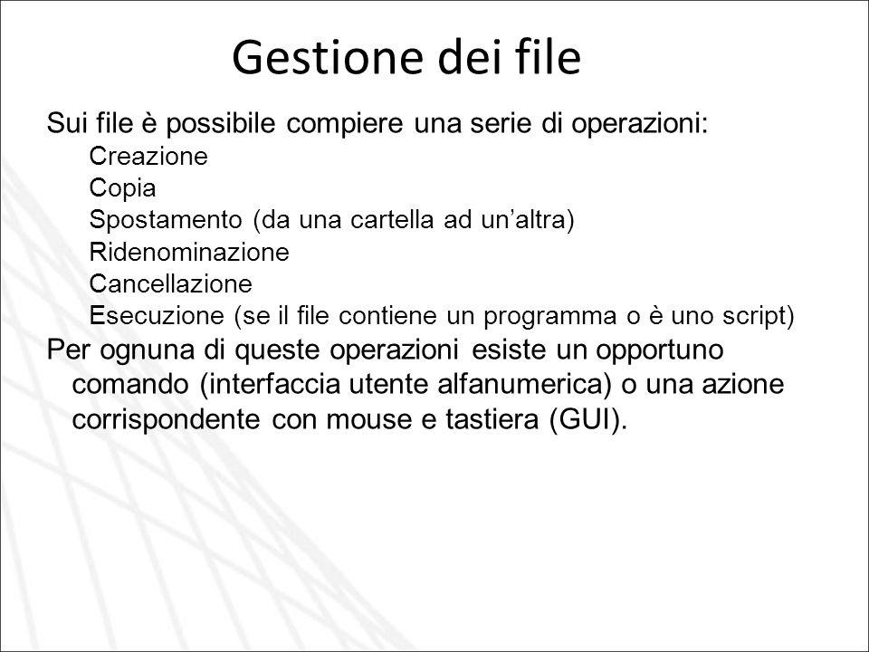 Gestione dei file Sui file è possibile compiere una serie di operazioni: Creazione Copia Spostamento (da una cartella ad unaltra) Ridenominazione Canc