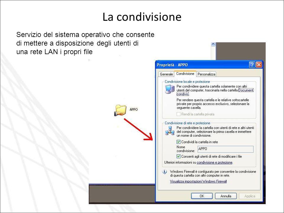 La condivisione Servizio del sistema operativo che consente di mettere a disposizione degli utenti di una rete LAN i propri file