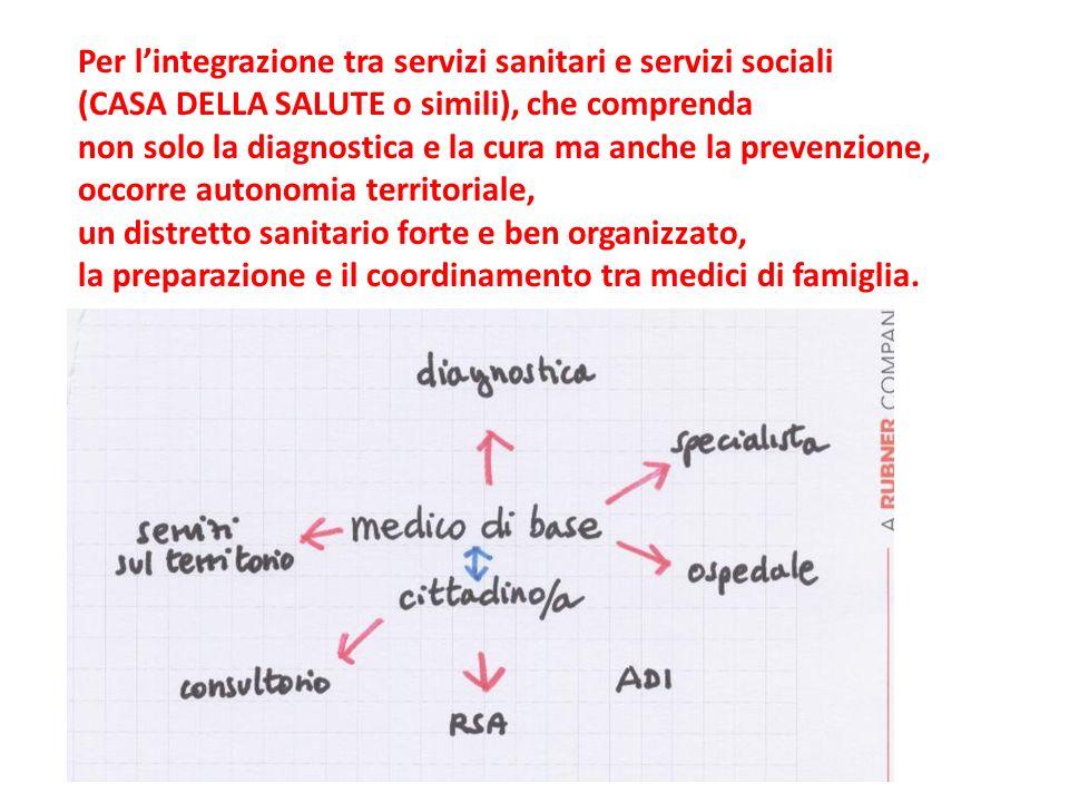 Per lintegrazione tra servizi sanitari e servizi sociali (CASA DELLA SALUTE o simili), che comprenda non solo la diagnostica e la cura ma anche la pre